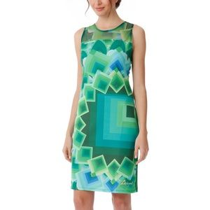 DESIGUAL Dress Green Print Stretch Bodycon xs